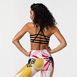 Спортивний костюм жіночий для фітнесу Квіти. Комплект лосини і топ для йоги, спорту, тренувань, розмір S, фото 3