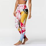 Спортивний костюм жіночий для фітнесу Квіти. Комплект лосини і топ для йоги, спорту, тренувань, розмір S, фото 5