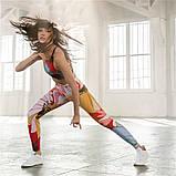 Спортивний костюм жіночий для фітнесу Квіти. Комплект лосини і топ для йоги, спорту, тренувань, розмір S, фото 6