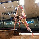 Спортивний костюм жіночий для фітнесу Квіти. Комплект лосини і топ для йоги, спорту, тренувань, розмір S, фото 7