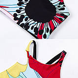 Спортивний костюм жіночий для фітнесу Квіти. Комплект лосини і топ для йоги, спорту, тренувань, розмір S, фото 10