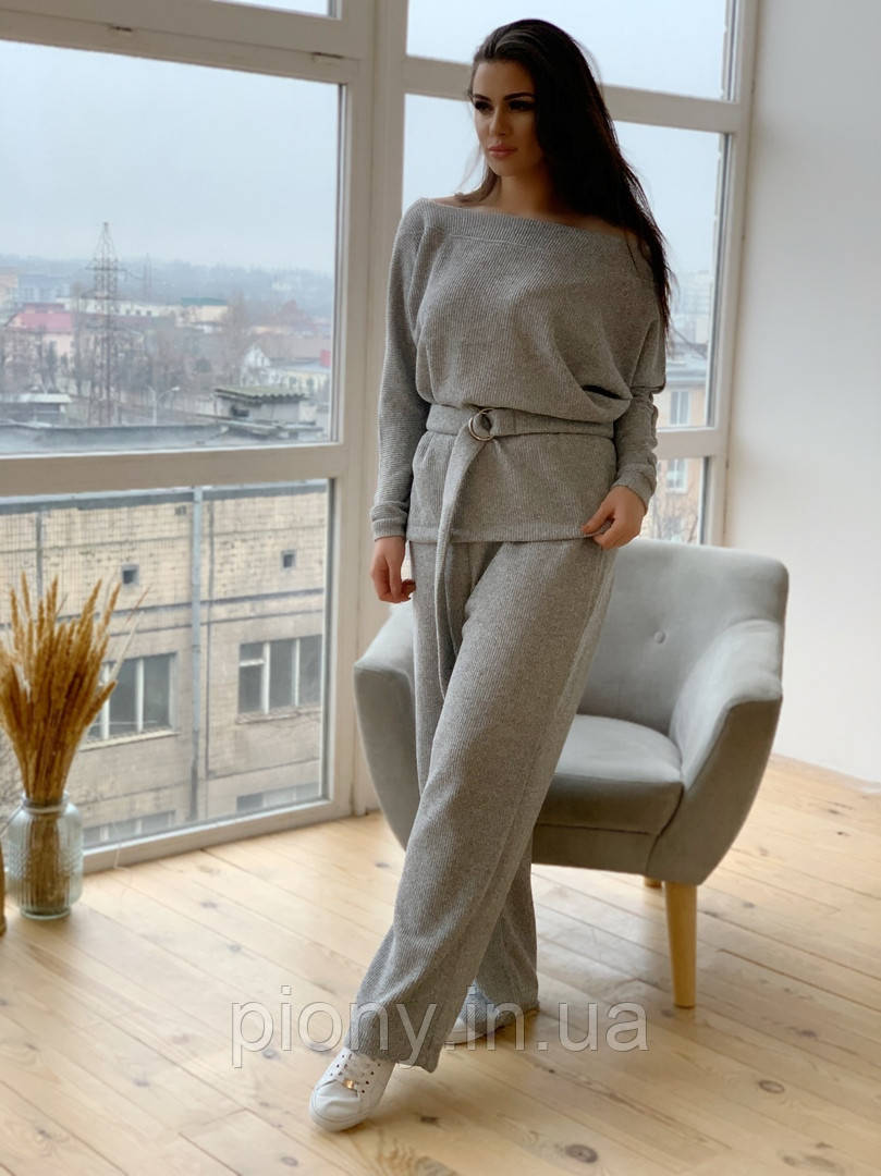 Женский брючный вязаный Костюм Батал