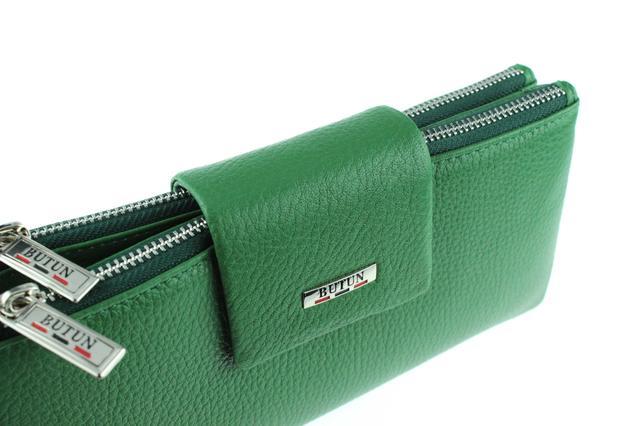 Большой женский кошелек BUTUN 507-004-075 кожаный зеленый