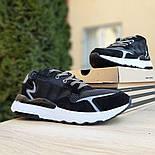 Мужские кроссовки Adidas Nite Jogger чёрные на белой сетка. Живое фото. Реплика, фото 2