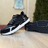 Мужские кроссовки Adidas Nite Jogger чёрные на белой сетка. Живое фото. Реплика, фото 3