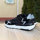 Мужские кроссовки Adidas Nite Jogger чёрные на белой сетка. Живое фото. Реплика, фото 8