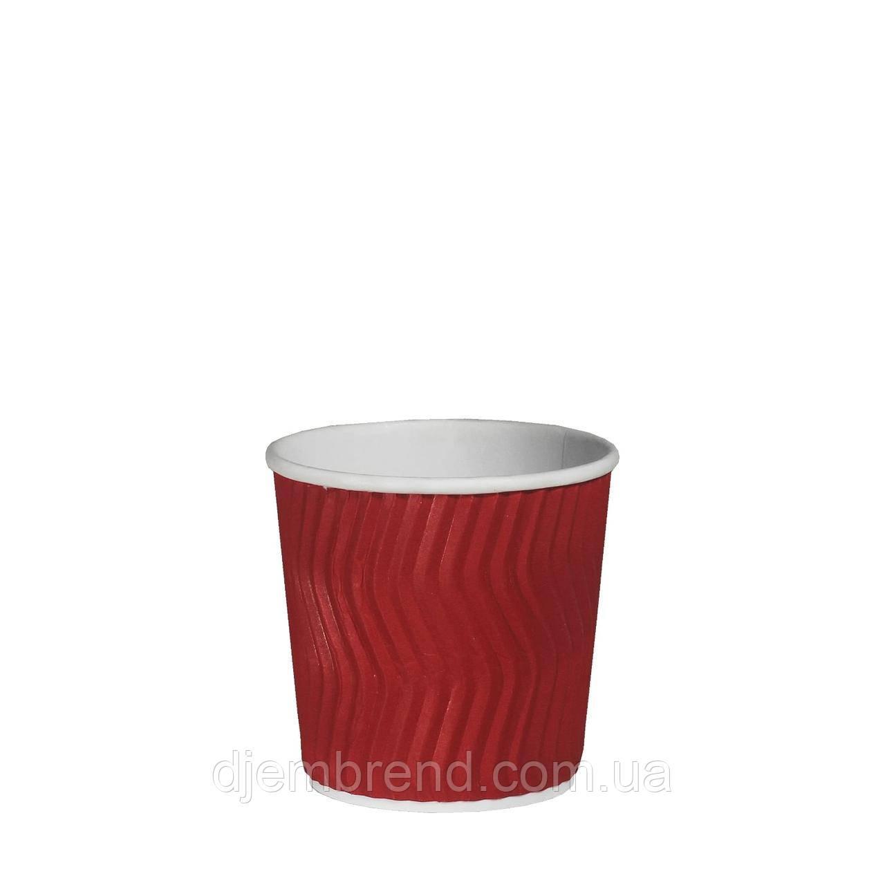 Стакан бумажный гофрированный Красный волна 180мл 30шт/уп (1ящ/48уп/1440шт)