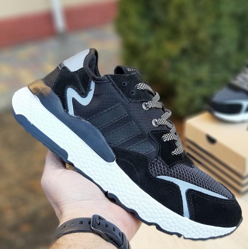 Мужские кроссовки Adidas Nite Jogger чёрные на белой сетка. Живое фото. Реплика