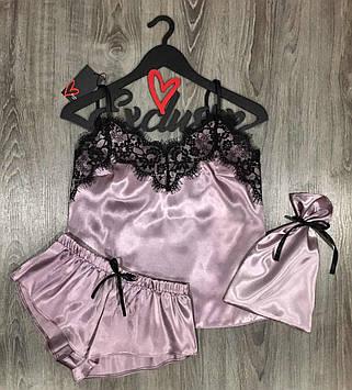 Пудровый атласный набор  Пижама майка с кружевом + шорты + мешочек для упаковки белья.