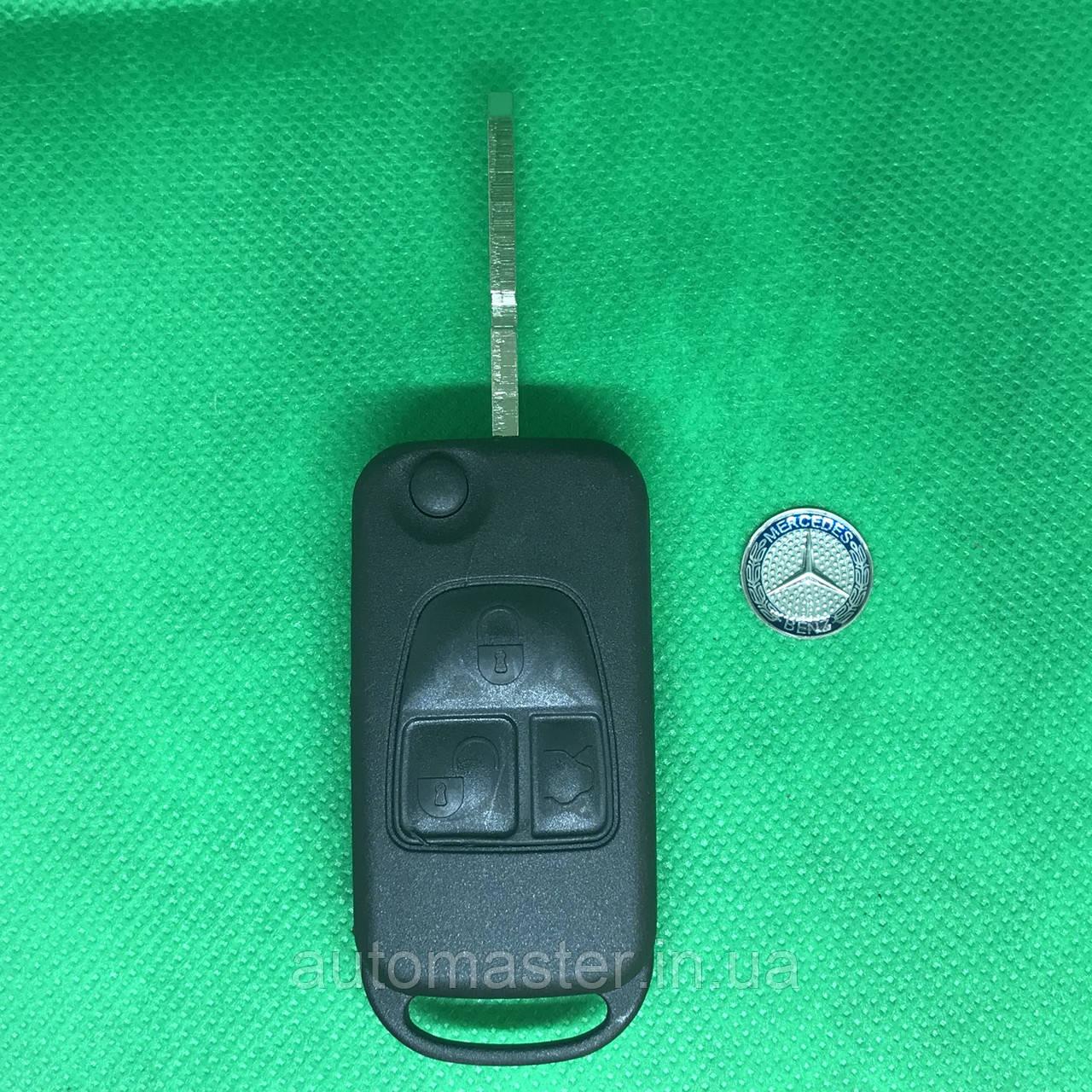Корпус выкидного авто ключа MERCEDES W140, S-class (Мерседес), 3 кнопки, лезвие HU39