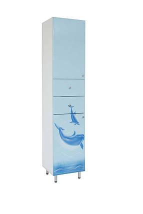 """Пенал в ванную комнату с корзиной  с рисунком """"Делфин"""", фото 2"""