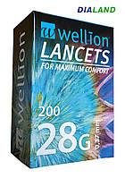 Ланцеты Веллион (Wellion) 28G (0,37мм) 200 штук, фото 1