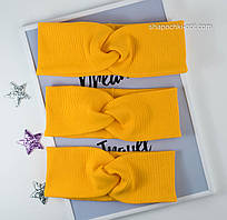 Повязка из однотонного трикотажа Чалма рубчик желтого цвета