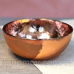 Набор 4 золотых глубоких тарелок, мисок из цветного стекла Роуз 17 см арт. HM0019