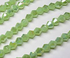 Бусины хрустальные (Биконус)  6х6мм (пачка- 45-50 шт), цвет - непрозрачный светло зеленый с АБ