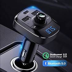 UGREEN PD ED040 FM-трансмиттер модулятор USB автомобильное зарядное устройство Быстрая зарядка QC4.0, Black