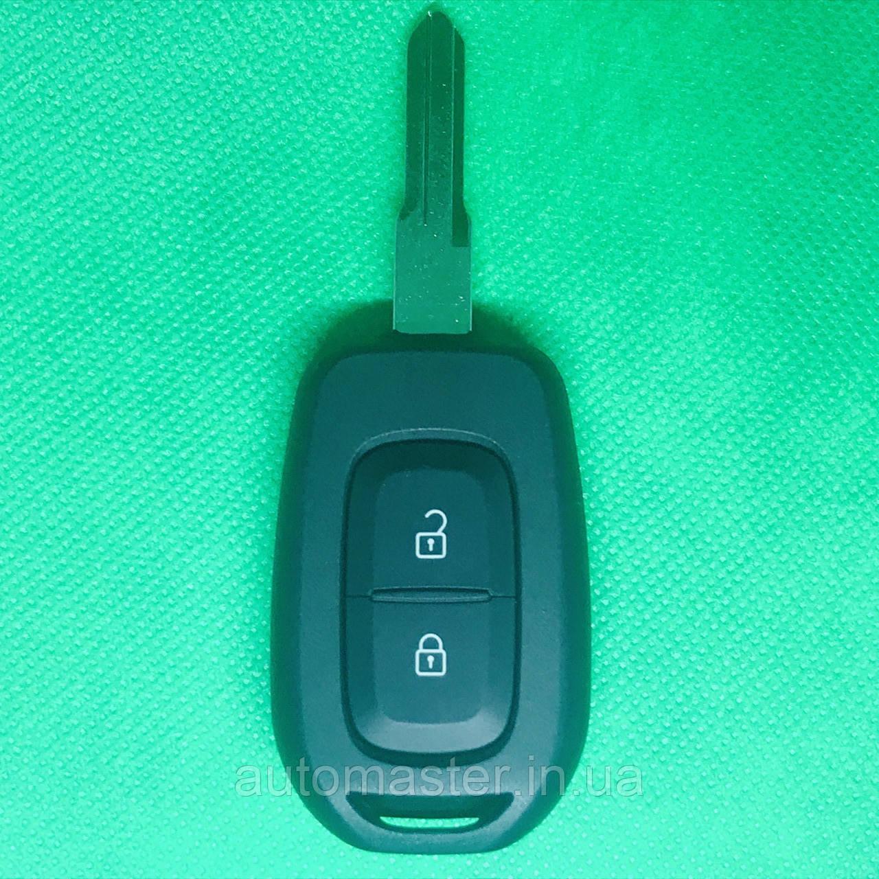 Корпус авто ключа для Renault Logan,Sandero,Duster (Рено) 2 кнопки, лезвие HU136 после 2012 года, с логотипом