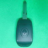 Корпус авто ключа для Renault Logan,Sandero,Duster (Рено) 2 кнопки, лезвие HU136 после 2012 года, с логотипом, фото 2
