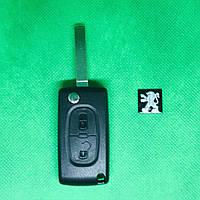 Корпус выкидного авто ключа для PEUGEOT (Пежо) 207, 307, 308, 3008, 4007, 2 - кнопки батарейка на плате, фото 1