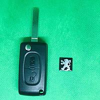 Корпус выкидного авто ключа для PEUGEOT (Пежо) 207, 307, 308, 3008, 4007, 2 - кнопки батарейка на корпусе