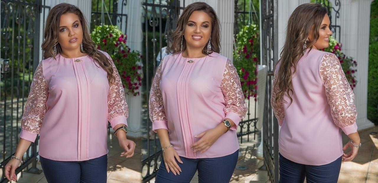 Женская блуза со вставками вышивки на сетке 48-50, 52-54, 56-58.