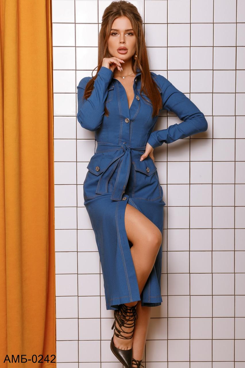 Женское стильное джинсовое платье с поясом Миди С, М +большие размеры 2 цвета