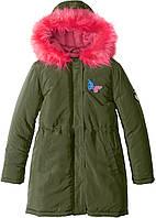 Куртка темная-оливка BPC bonprix collection (красный искусственный мех)