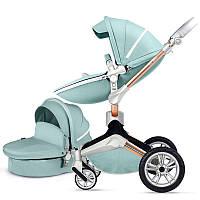 Оригинальная детская коляска Hot Mom 2в1 New 360 Бирюзовая эко-кожа Прогулка и люлька