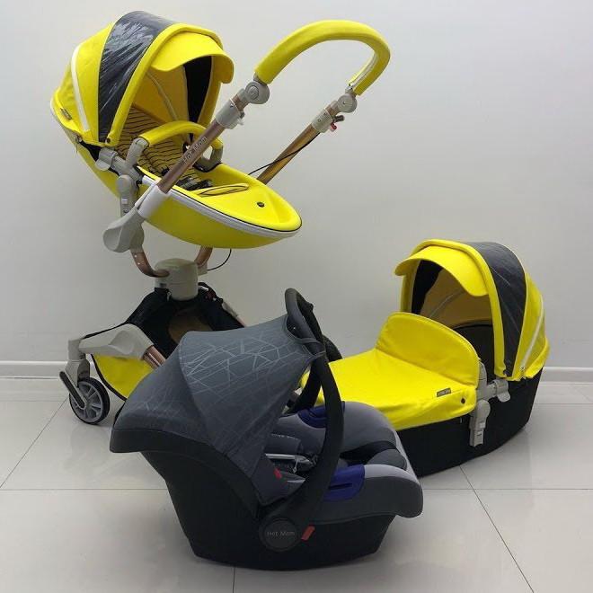 Оригинальная детская коляска Hot Mom 3в1 New Yellow 360 Желтая эко-кожа Прогулка, люлька и автокресло