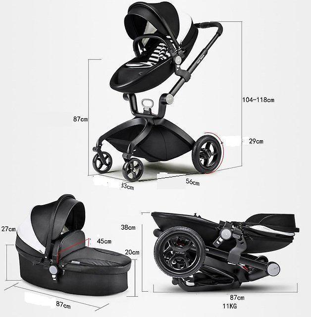 Оригинальная детская коляска Hot Mom 3в1 Черная эко-кожа Прогулка, люлька и автокресло