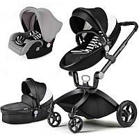 Оригинальная детская коляска Hot Mom 3в1 Черно-белая эко-кожа Прогулка, люлька и автокресло