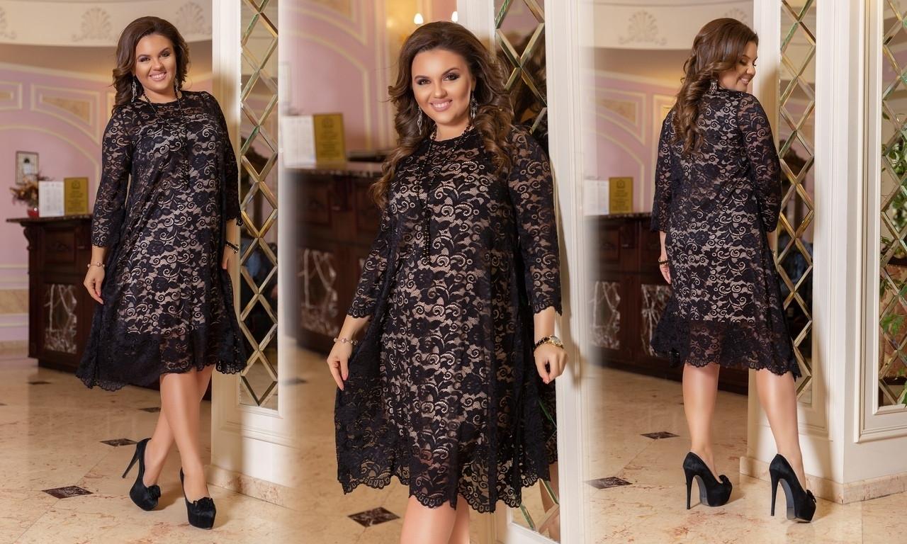 Красивое женское гипюровое платье свободного кроя  48-50, 52-54