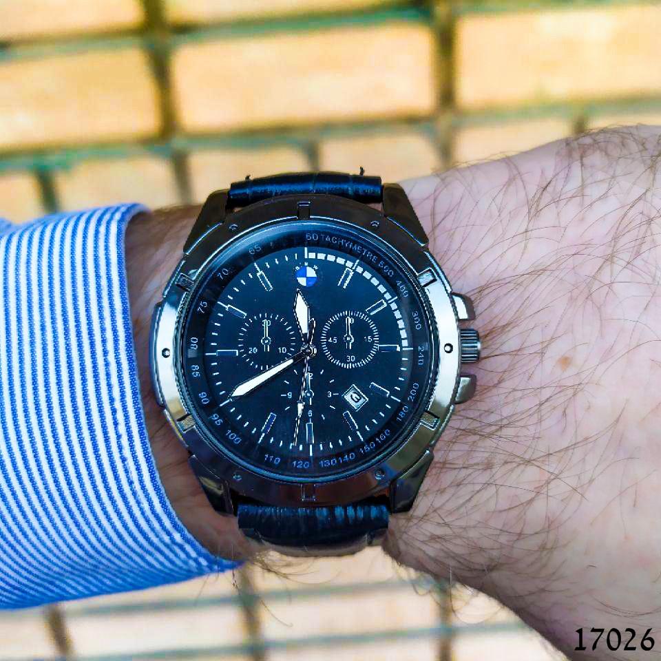 Годинники чоловічі в стилі BMW. Чоловічі наручні годинники чорного кольору. Годинник з чорним циферблатом Годинник чоловічий
