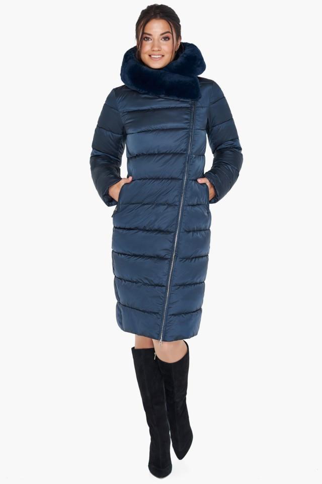 Женский зимний воздуховик с мехом и водозащитным покрытием Braggart tez31049 сапфир