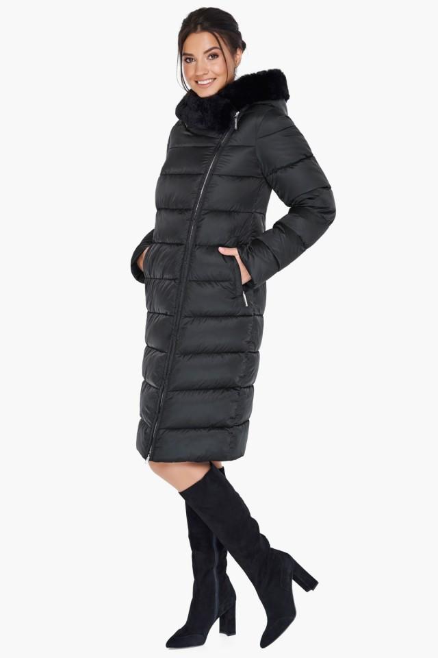Женский зимний черный воздуховик с меховой опушкой и косой молнией Braggart tez31049 черный