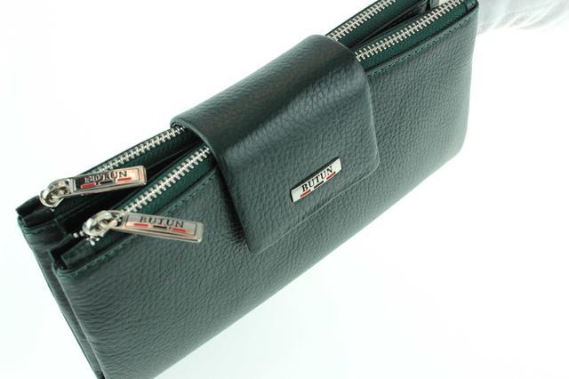 Большой женский кошелек BUTUN 507-004-009 кожаный темно-зеленый