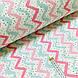 Фланелевая ткань зигзаг мятно-розовый с черными крапинками на белом (шир. 2,4 м) ОТРЕЗ (0.35*2.4), фото 2