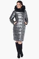 Женская серебряная куртка воздуховик на зиму с натуральным мехом на капюшоне Braggart tez31049 серебро, фото 1