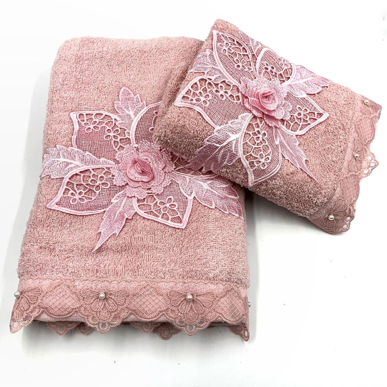 Набор махровых полотенец «Цветочное кружево» из 2шт. лицевое и банное , пудра
