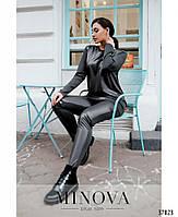 Стильный костюм-двойка с брюками и длинной кофтой со вставками из эко-кожи с 48 по 62 размер, фото 4