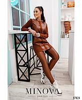 Стильный костюм-двойка с брюками и длинной кофтой со вставками из эко-кожи с 48 по 62 размер, фото 9