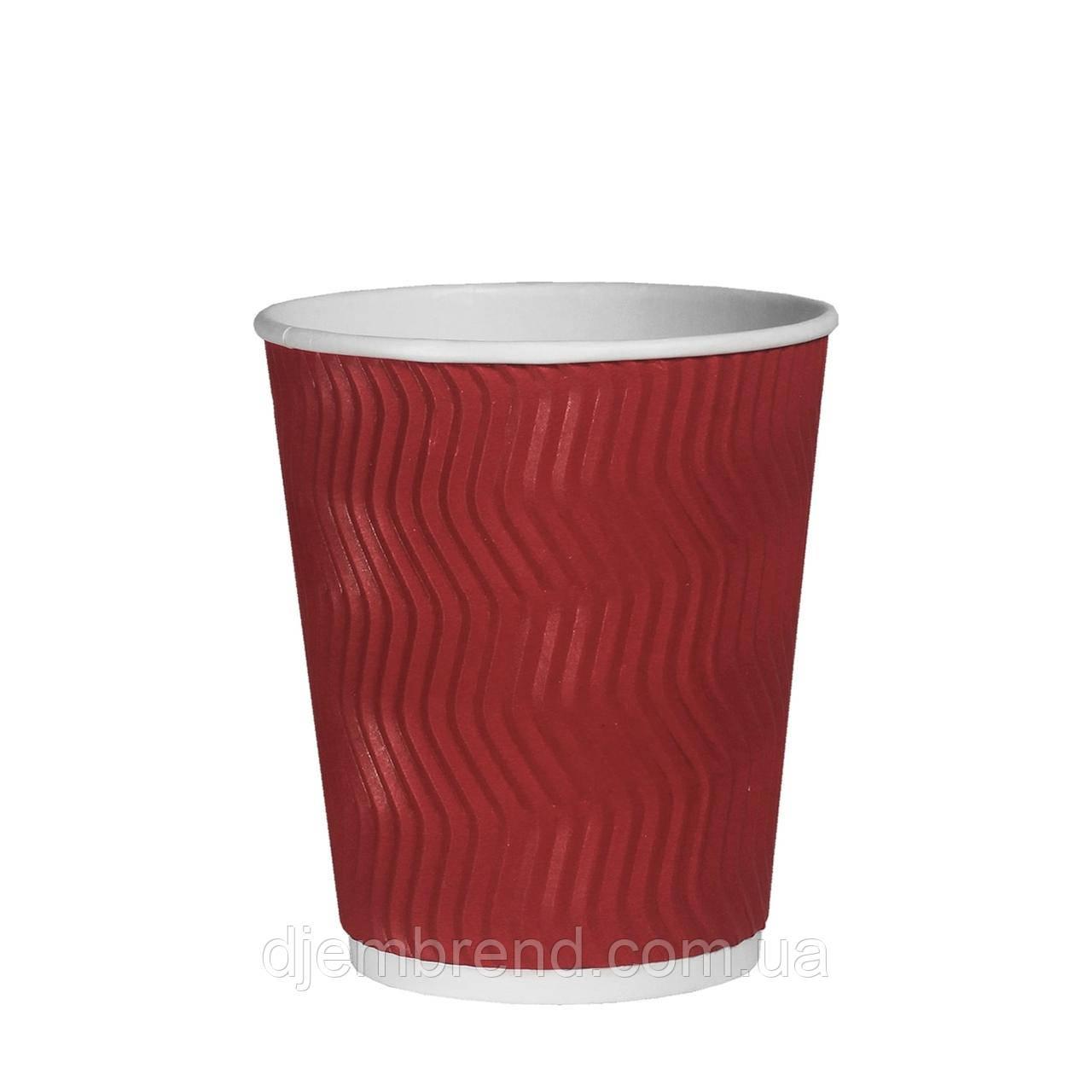 Стакан бумажный гофрированный Эко-гофра Красный 250мл. (8oz) 25шт/уп (1ящ/20уп/500шт) (КР81)