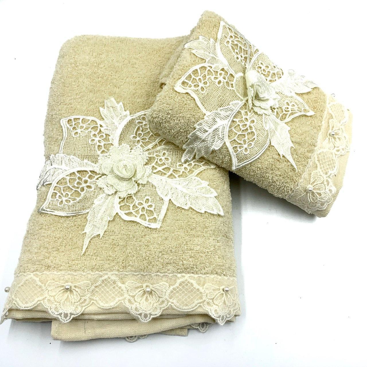 Набор махровых полотенец «Цветочное кружево» из 2шт. лицевое и банное , молочный