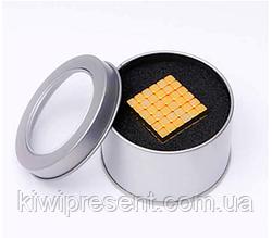 Неокуб Тетракуб из кубиков в боксе 216 шт 5 мм золото  магнитный конструктор шарики