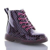 Демисезонные ботинки для девочек черные в горошек на молнии и шнурках