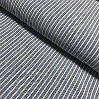 Лён в тонкую белую, синюю, тёмно-синюю полоску, ширина 150 см