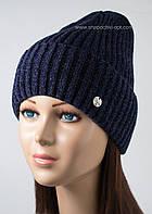 Женская шапочка с отворотом Эдем индиго