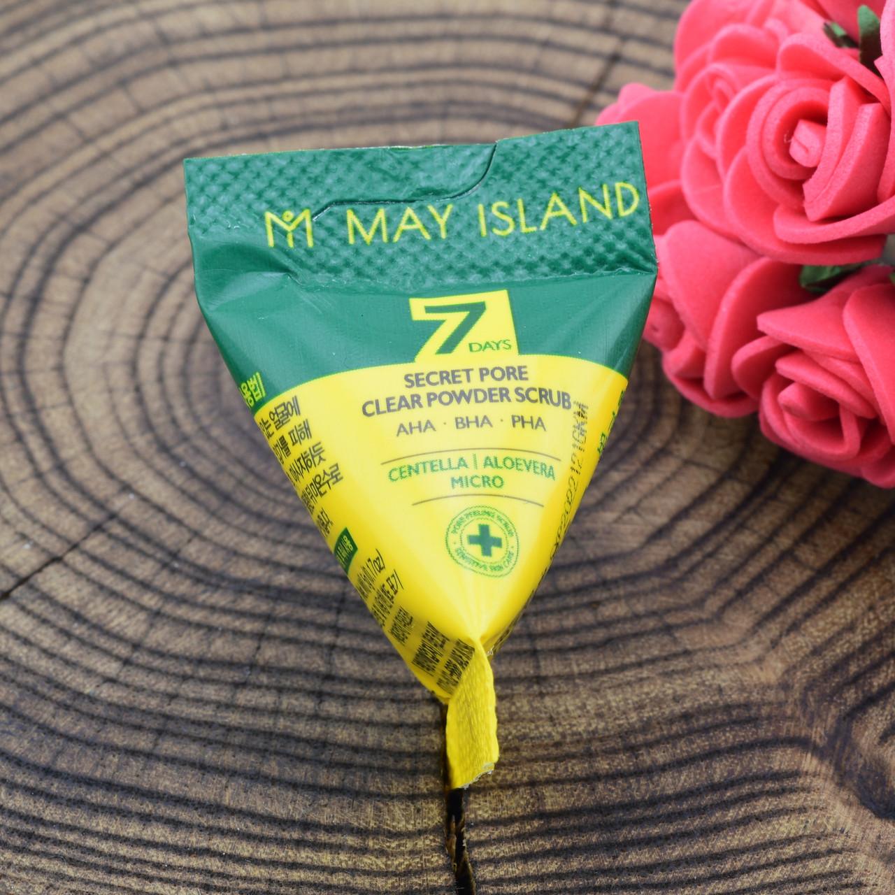 Скраб для очищения пор May Island с кислотами и центеллой 7Days Secret Pore Clear Powder Scrub