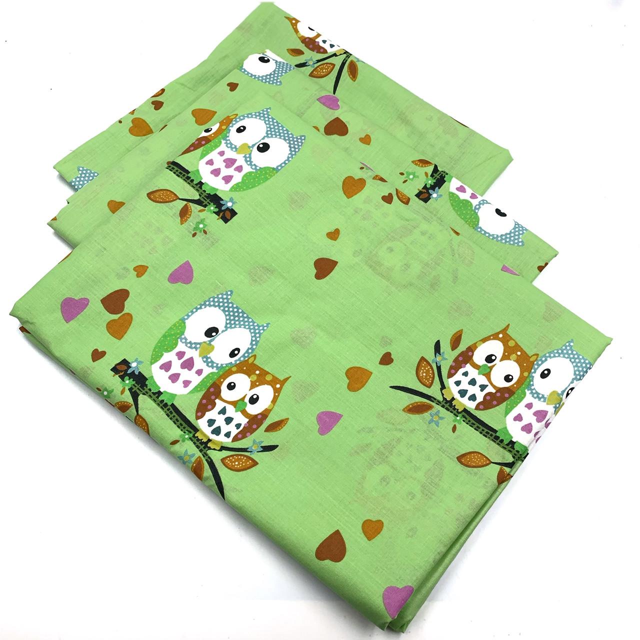Комплект постельного белья 110*140 из бязи Голд в кроватку Совушки (зеленого  цвета)