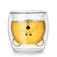 Чашка с двойным дном Медвежонок 270 мл (кружка с двойными стеклом)